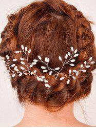 Filigree Faux Pearl Leaf Hairpin -