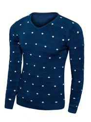 V-Neck Polka Dot Long Sleeve Sweater -