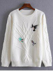 Birds Embroidery Pullover Cable Sweater -