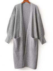 Lantern Sleeve Double Pocket Cardigan -
