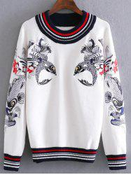 Carp Embroidery Pullover Cable Sweater -