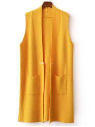Double Pocket Long Knit Vest -