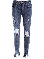 Ripped BF Ankle Pencil Jeans - DENIM BLUE