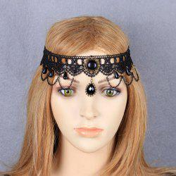 Layered Crochet Lace Teardrop Headband - BLACK