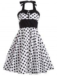 Polka Dot Halter Retro Swing Fit and Flare Dress - WHITE 2XL