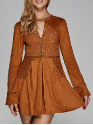Long Sleeve Lace Cut Out Flare Dress -
