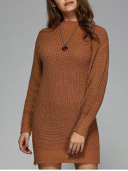 Round Neck Knit Mini Dress -