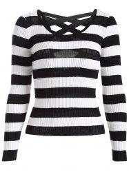 Cut Out Striped Knitwear -
