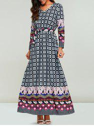 V Neck Long Sleeve Print Maxi Dress