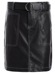 PU Belted Bodycon Skirt -