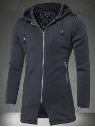 Zipper Up Pocket Hooded Coat -