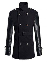 Stand Collar PU Spliced Wool Blend Trench Coat
