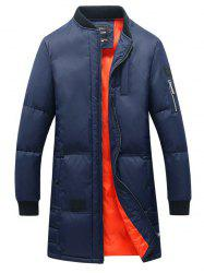 Breast Pocket Rib Cuff Zippered Quilted Coat -