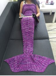 Open-Work Crochet Yarn Knitted Mermaid Tail Blanket - PURPLE