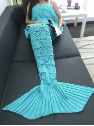 Geometry Openwork Design Crochet Knitted Mermaid Tail Blanket