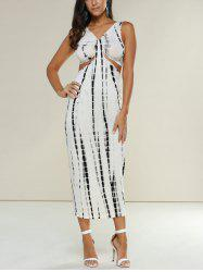 Minceur imprimé serpent Cut Out Midi Dress - Blanc Cassé