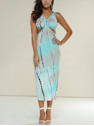 Tie Dye Midi Night Out Dress - AZURE