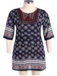 Bohemian Drawstring Design Embroidery Dress - PURPLISH BLUE L