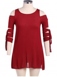 Lace-Up Sleeve Cold Shoulder Dress - RED XL