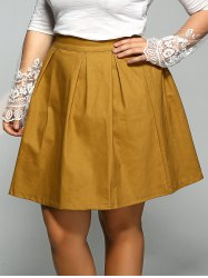 Plus Size Elastic Pleated Mini Skater Skirt