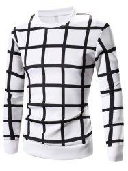 Grid Printed Long Sleeve Sweatshirt - WHITE 2XL