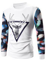 3D Elk Print Long Sleeve Sweatshirt - WHITE 3XL