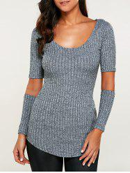 Ribbed Cut Out Heathered Knitwear - GRAY