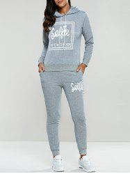 Letter Print Drawstring Hoodie Tracksuit - LIGHT GRAY