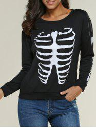 Round Neck Skeleton Print Sweatshirt