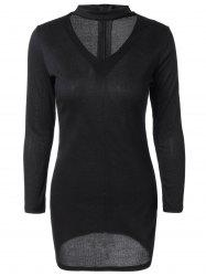 Découpez Out Long Neck Sweater Dress - Noir XL