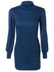 Skinny Turtleneck Mini Sweater Dress - DEEP BLUE XL