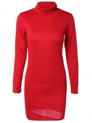 Turtleneck Ribbed Sweater Dress - Rouge