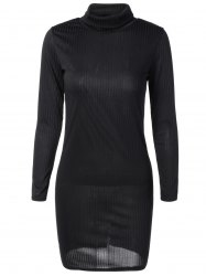 Knit Turtleneck Ribbed Fitted Sweater Dress -