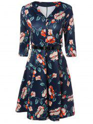 V-Neck 3/4 Sleeve Floral Print Dress