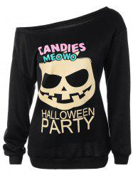 Halloween Mask Print Skew Collar Sweatshirt -