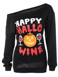 Skew Collar Pumpkin Print Halloween Sweatshirt - BLACK