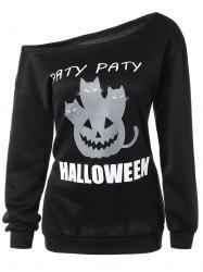 Halloween Mask Print One-Shoulder Sweatshirt -