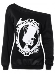Skulls Print Skew Neck Halloween Sweatshirt - BLACK