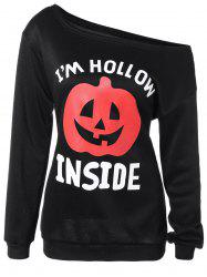 Halloween Pumpkin Print One-Shoulder Sweatshirt - BLACK