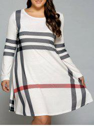 Casual Plus Size Striped Long Sleeve T-Shirt Dress - OFF-WHITE
