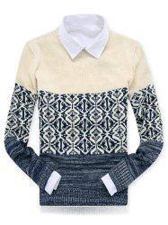 Crew Neck Color Block Spliced Geometric Pattern Sweater - APRICOT 2XL