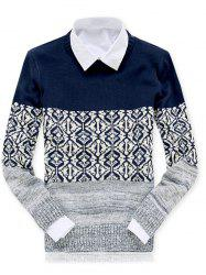 Crew Neck Color Block Spliced Geometric Pattern Sweater