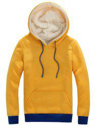 Pocket Front Contrast Trim Drawstring Sherpa Hoodie -