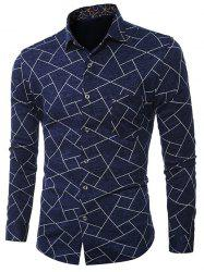 Plus Size Geometric Print Turn-Down Collar Long Sleeve Shirt