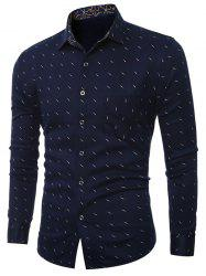 Print Turn-Down Collar Long Sleeve Plus Size Shirt -