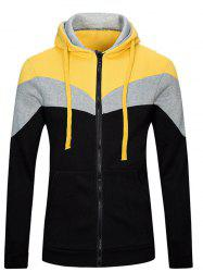 Color Splicing Zip Up Long Sleeve Hoodie