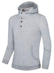 Snap Button Kangaroo Pocket Hoodie