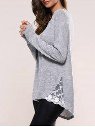 Lace Insert Asymmetric Pullover Long Sleeve Sweater - BLUE GRAY