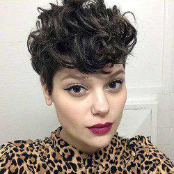 Short Pixie Cut Side Bang Fluffy Curly Synthetic Wig -