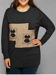 Plus Size Funny Applique Casual Sweater - BLACK